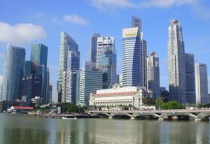 Vistas del CBD de Singapur desde Clarke Quay.