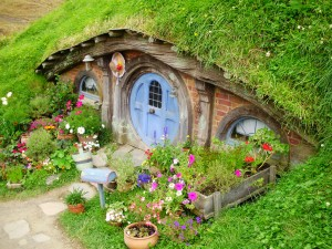 Casas de los hobbit en Hobbiton Movie Set.