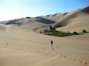 Enormes dunas de arena rodean el oasis.