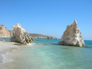 Una de las impresionantes playas en las islas Cícladas.
