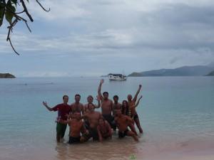 Mi grupo de buceo en Pink Beach.