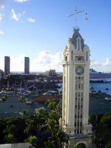 Torre del reloj en Honolulu, Oahu.