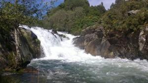 Tras fuertes lluvias, la cascada baja cargada de agua.