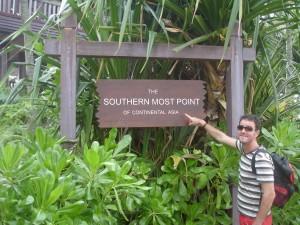 Llegando al punto más al sur del continente de Asia.