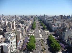 La avenida 9 de julio en Buenos Aires.