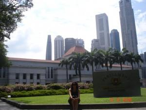 Mezcla de edificos coloniales y enormes rascacielos en Singapore.