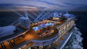 Vista aérea de un show en cubierta de Princess Cruises.