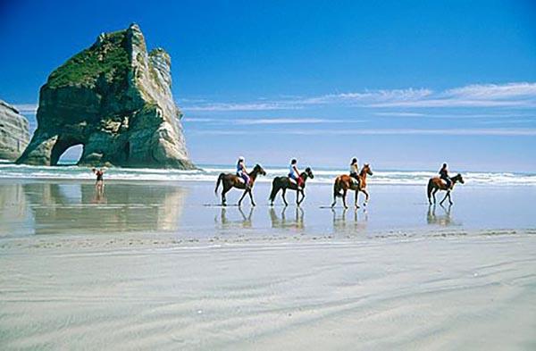 Wharariki Beach en Nueva Zelanda.