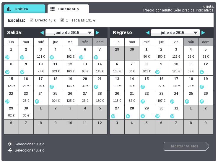 Calendario de vuelos baratos
