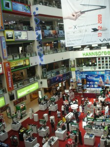 Abarrotado centro comercial de Singapur.